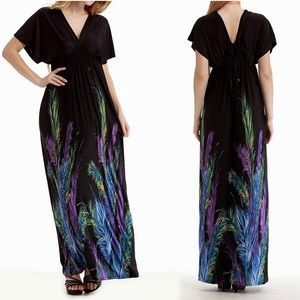 Women's V-Neck Empire Waist Loose Boho Maxi Dress